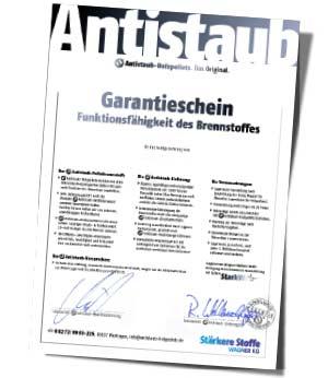 Antistaub-Holzpellets mit Funktions-Garantie